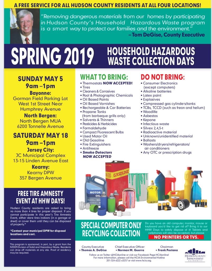 JERSEY CITY HOUSEHOLD HAZARDOUS WASTE COLLECTION!!! SATURDAY, MAY